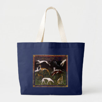 Medieval Greyhounds in the Deep Woods Large Tote Bag