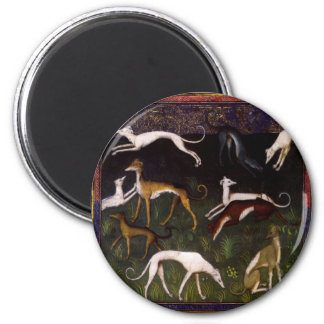 Medieval Greyhounds in the Deep Woods Magnet