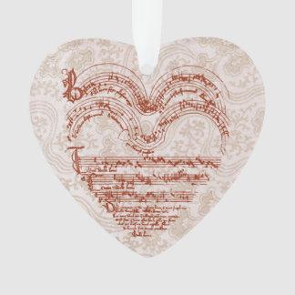 Medieval Heart Music Manuscript Floral Backdrop Ornament