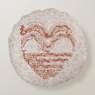 Medieval Heart Shape Music Manuscript Round Pillow