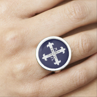 Medieval Ichthys Cross Ring with Alpha and Omega