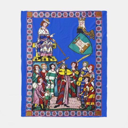 Medieval Jam Session Blue Fleece Blanket