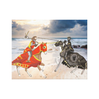 Medieval Joust on the Seashore Redesigned Canvas Print