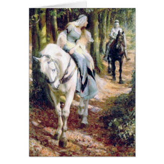 Medieval knight lady antique painting card