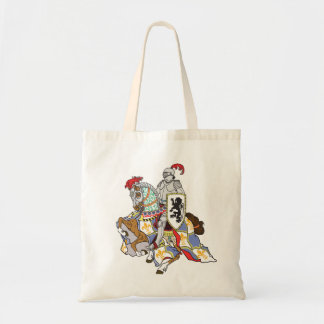 medieval knight on a horse tote bag
