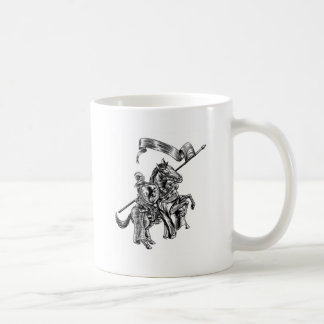 Medieval Knight on Horse Vintage Woodcut Style Coffee Mug