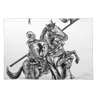 Medieval Knight on Horse Vintage Woodcut Style Placemat
