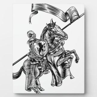 Medieval Knight on Horse Vintage Woodcut Style Plaque