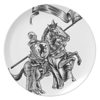 Medieval Knight on Horse Vintage Woodcut Style Plate