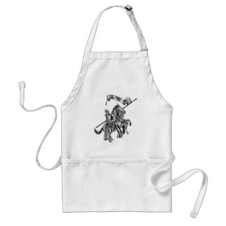 Medieval Knight on Horse Vintage Woodcut Style Standard Apron