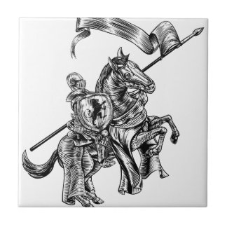 Medieval Knight on Horse Vintage Woodcut Style Tile