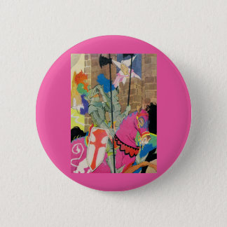 medieval knight on horseback 2 inch round button