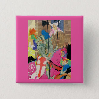 medieval knight on horseback 2 inch square button