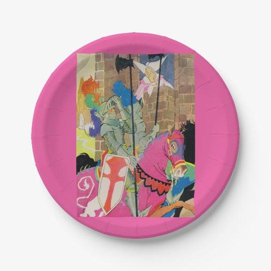 medieval knight on horseback paper plate
