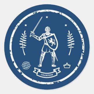 Medieval Knight Round Stamp - Sticker