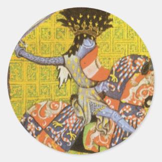 Medieval Knight Round Sticker