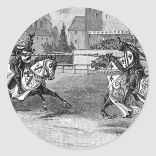 Medieval Knights Jousting Classic Round Sticker