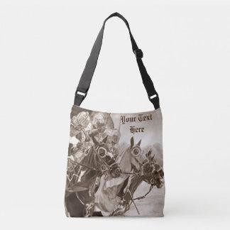 medieval knights jousting horses art sepia design crossbody bag