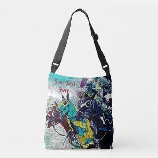 medieval knights jousting on horses art design crossbody bag