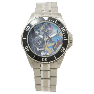 medieval knights jousting on horses art design watch