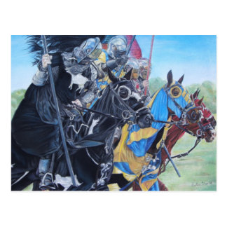 medieval knights jousting on horses historic art postcard