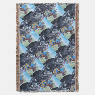 medieval knights jousting on horses historic art throw blanket