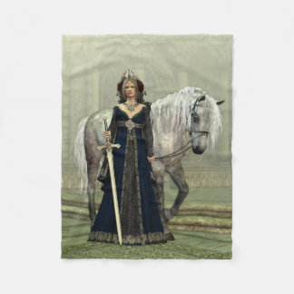 Medieval Lady and Horse Small Fleece Blanket