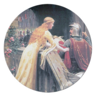 Medieval lady and knight antique painting dinner plate