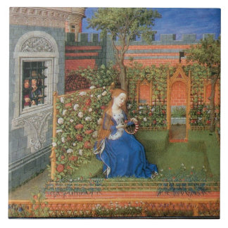 Medieval lady in the rosegarden tile