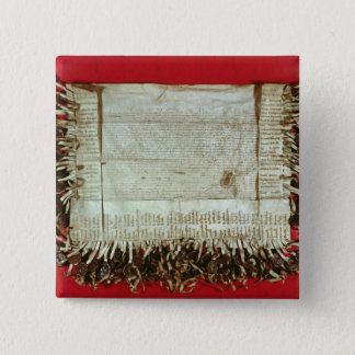 Medieval letter of protest from the Bohemian 2 Inch Square Button