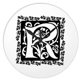 Medieval Letter R Monogram Black and White Wallclocks