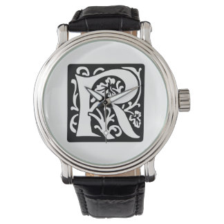Medieval Letter R Monogram Black and White Watch