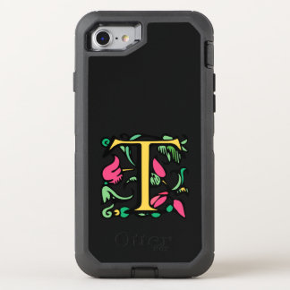 Medieval Letter T in Gold and Pink OtterBox Defender iPhone 7 Case
