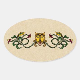 Medieval Lion Design Oval Sticker