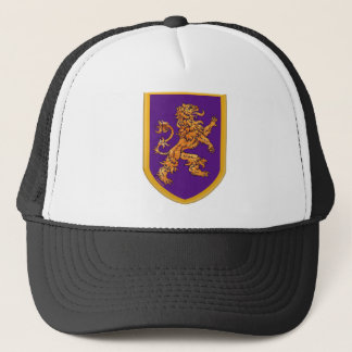 Medieval Lion on Purple Shield Trucker Hat
