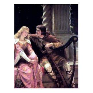 Medieval Love Couple Romantic Castle Painting Postcard