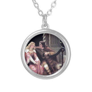 Medieval Love Couple Romantic Castle Painting Silver Plated Necklace