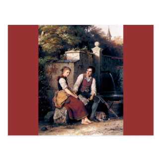 Medieval Love Woman Man painting romantic Postcard