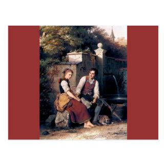 Medieval Love Woman Man painting romantic Postcard