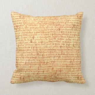 Medieval manuscript throw pillow