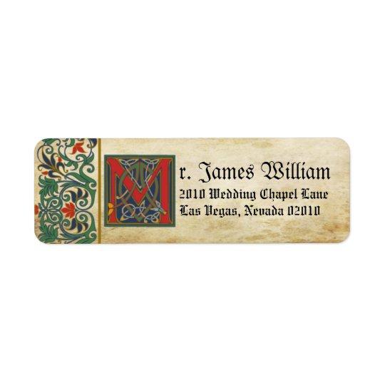 Medieval Manuscript Wedding Label Return Address Label