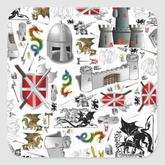 Medieval Mash-up Square Sticker