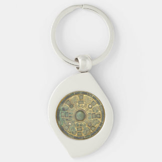 Medieval Medallion Silver-Colored Swirl Keychain