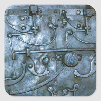 Medieval metal plate square sticker
