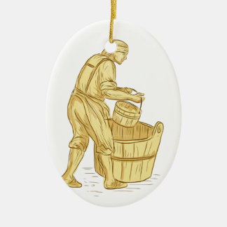 Medieval Miller With Bucket Drawing Ceramic Ornament