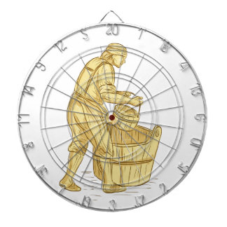 Medieval Miller With Bucket Drawing Dartboard