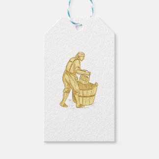 Medieval Miller With Bucket Drawing Gift Tags