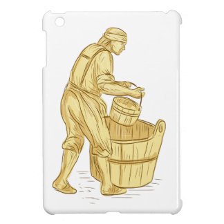 Medieval Miller With Bucket Drawing iPad Mini Cases