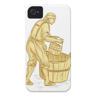 Medieval Miller With Bucket Drawing iPhone 4 Case-Mate Cases