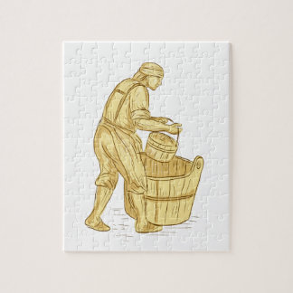 Medieval Miller With Bucket Drawing Jigsaw Puzzle